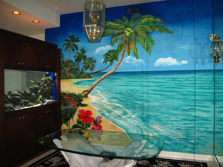 Another soothing mural in Luxurious Harbor island residence to accommodate the underwater aquarium seen.
